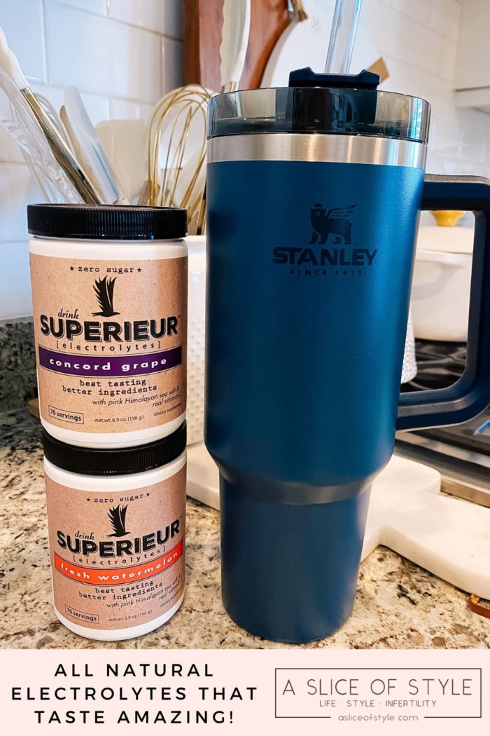 Epstein-Barr Virus by popular Utah lifestyle blog, A Slice of Style: image of a Stanley ADVENTURE QUENCHER TRAVEL TUMBLER and Superieur electrolytes.