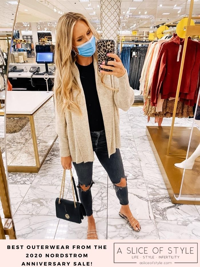 best coats and jackets from Nordstrom Anniversary Sale 2020 | Nordstrom Anniversary Sale by popular Utah fashion blog, A Slice of Style: image of Jenica Parcell wearing a black t-shirt, beige cardigan and holding a black Tory Burch purse.