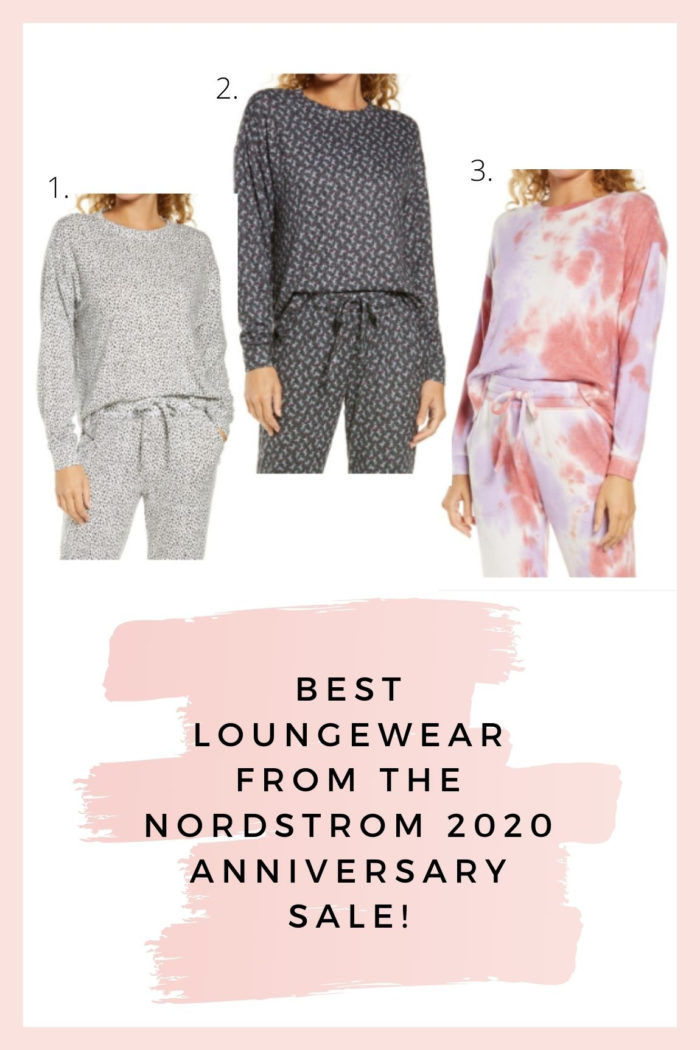 Nordstrom Anniversary Sale by popular Utah fashion blog, A Slice of Style: collage image of a Nordstrom Cozy Loungewear Set in Grey Pearl, Cozy Loungewear Set in Black Daisy, and Cozy Loungewear Set in Tie Dye