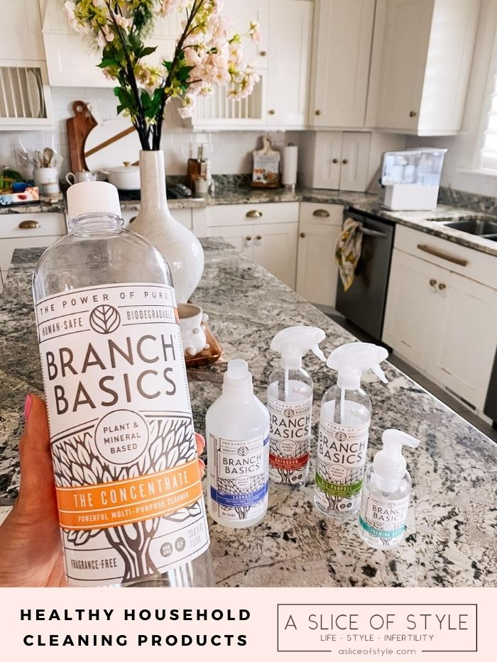 toxin-free home | Branch Basics Reviews by popular Utah lifestyle blog, A Slice of Style: image of Jenica Parcell holding a bottle of Branch Basics.