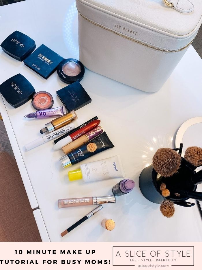 Makeup Routine by popular Utah beauty blog, A Slice of Style: image of a Sly Beauty makeup bag and Shine Cosmetics makeup.