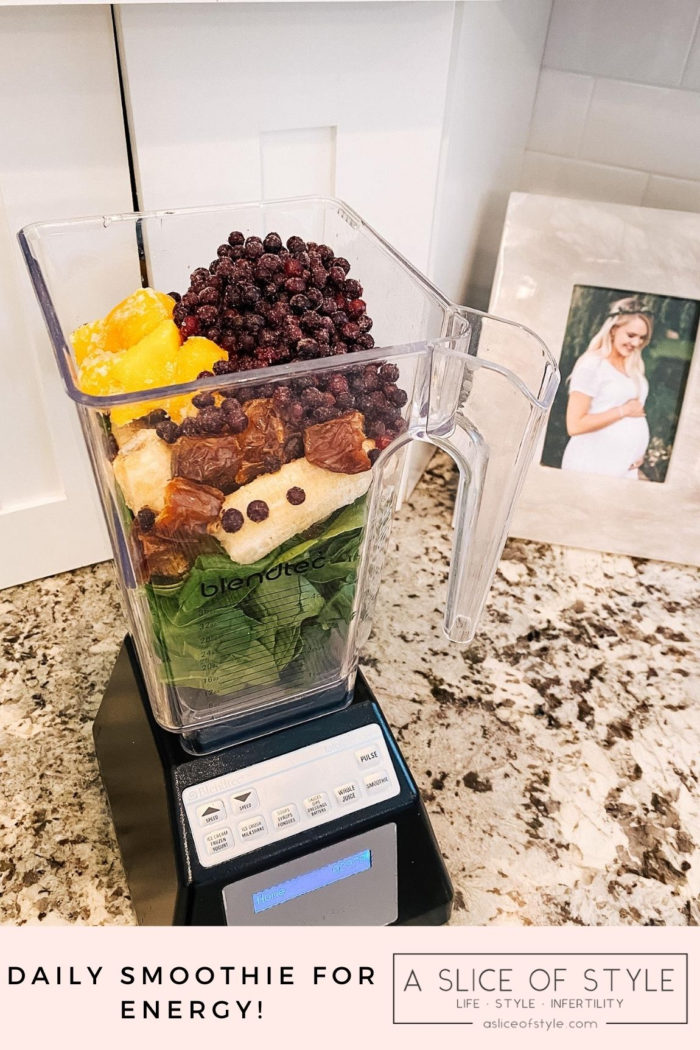 Epstein-Barr Virus by popular Utah lifestyle blog, A Slice of Style: image of a Blendtec blender filled with mangos, dates, bananas, and wild blueberries.