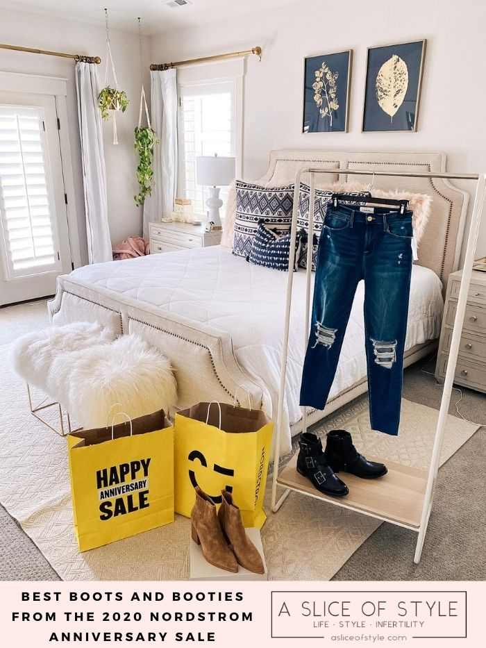 Nordstrom Anniversary Sale by popular Utah fashion blog, A Slice of Style: image of a pair of denim and pair of boots on a clothing rack next to a couple Nordstrom Anniversary Sale shopping bags and a pair of tan suede boots.