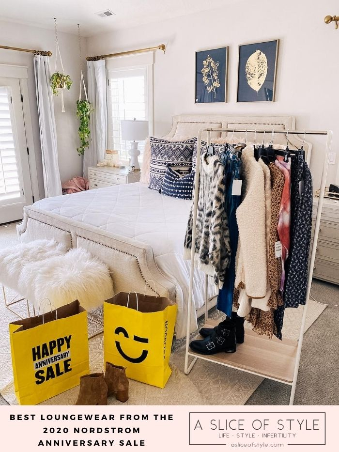 Nordstrom Anniversary Sale by popular Utah fashion blog, A Slice of Style: image of a clothes rack filled with Nordstrom clothes, Nordstrom Anniversary Sale bags, a Tory Burch bag, and a couple pairs of boots.