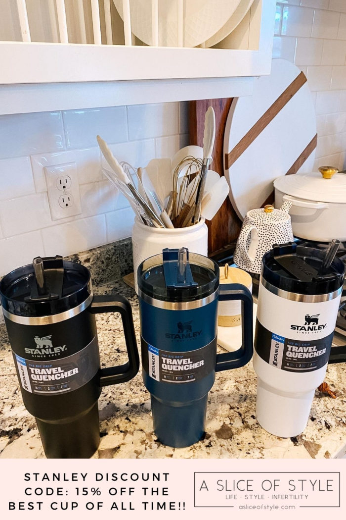 Stanley Travel Mug by popular Utah lifestyle blog, A Slice of Style: image of a black, blue, and white Stanley travel mug.