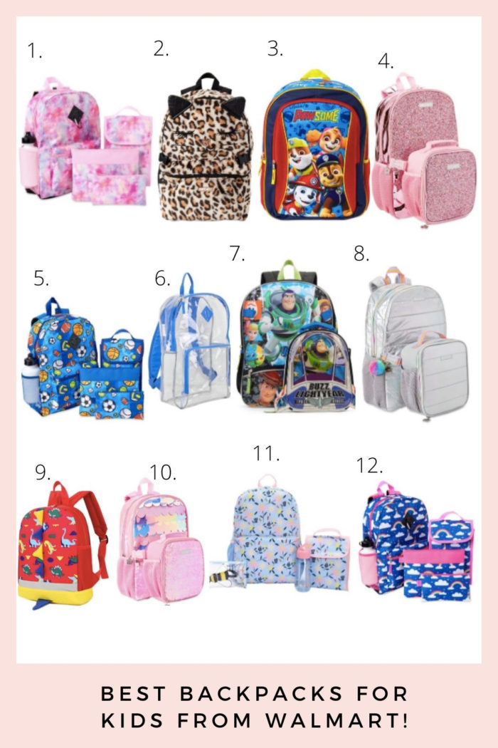 Back to School Shopping with Walmart: Best Backpacks! | Back to School Checklist by popular Utah motherhood blog, A Slice of Style: collage image of Pink Galaxy 6-Piece Backpack Set, Cheetah Plush Backpack, Paw Patrol Backpack, Metallic & Glitter Lunch Bag, Sports 6-Piece Backpack Set, Eastsport Multipurpose Clear Backpack, Toy Story Backpack with Lunchbox, Silver Quilted Backpack, Dinosaur Backpack, Mermaid Scale Backpack, Honeybee Floral 5-Piece Backpack Set, and Rainbow Skies 6-Piece Backpack Set.