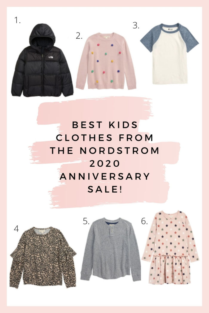 Nordstrom Anniversary Sale by popular Utah fashion blog, A Slice of Style : collage image of Water Repellent Reversible Down Jacker, Tucker and Tate Pompom Sweater, Baseball T-Shirt, Leopard Print Ruffle Sleeve Pullover, Tucker and Tate Waffle Henley, and Tucker and Tate Drop Hem Dress