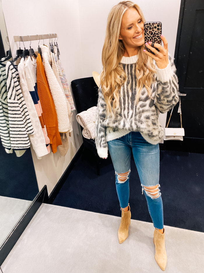 Nordstrom Anniversary Sale by popular Utah fashion blog, A Slice of Style: image of Jenica Parcell wearing a Nordstrom Leopard Brushed Pullover BP..