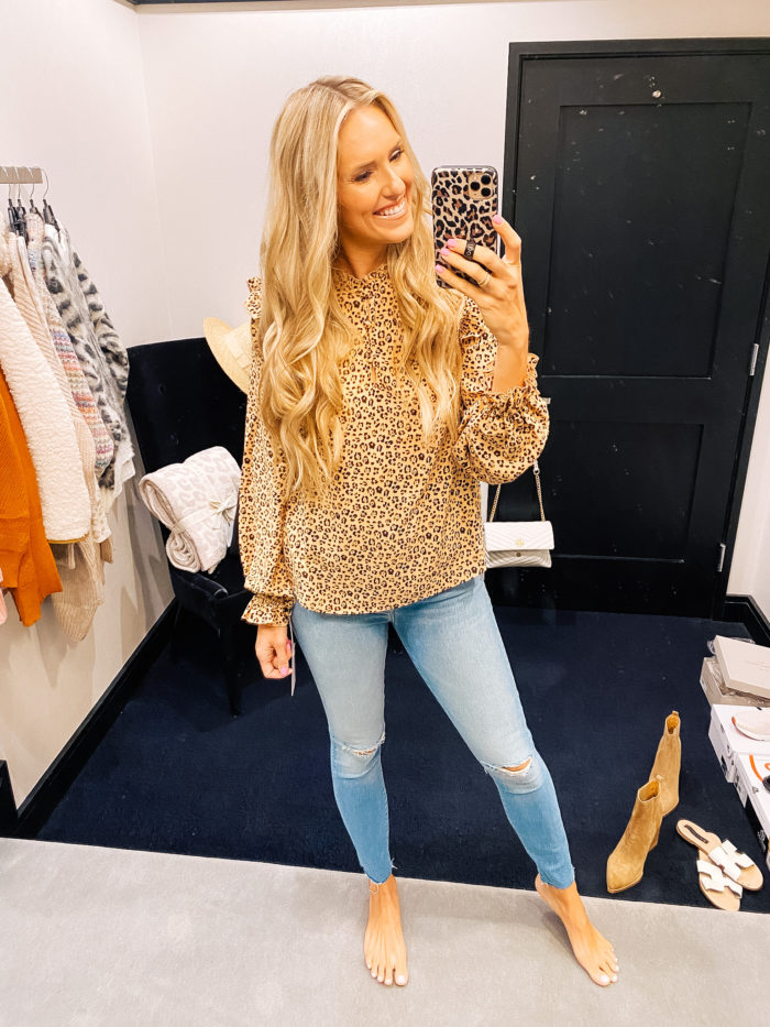 Nordstrom Anniversary Sale by popular Utah fashion blog, A Slice of Style: image of Jenica Parcell wearing a Nordstrom Ruffle Blouse RACHEL PARCELL.