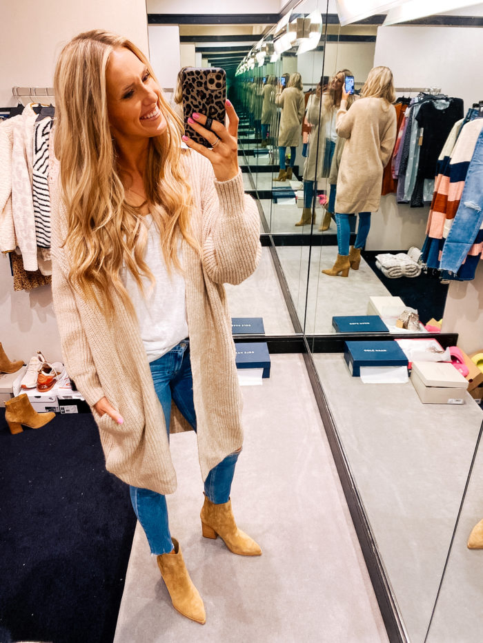 Nordstrom Anniversary Sale by popular Utah fashion blog, A Slice of Style: image of Jenica Parcell wearing a Nordstrom Ribbed Open Front Cardigan TOPSHOP.