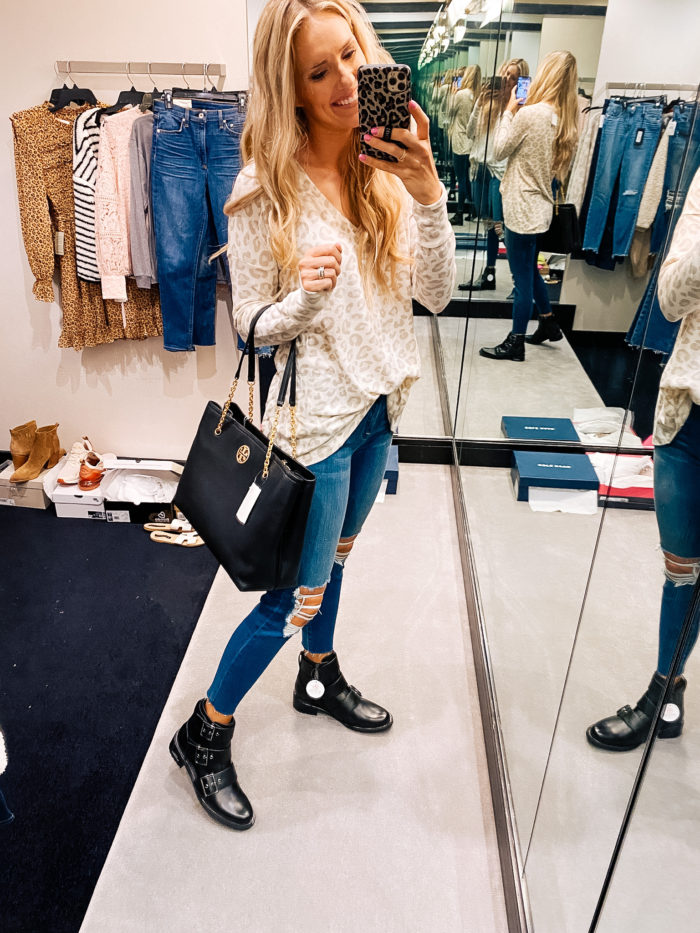 Nordstrom Anniversary Sale by popular Utah fashion blog, A Slice of Style: image of a Jenica Parcell holding a Tory Burch Carson Leather Tote.