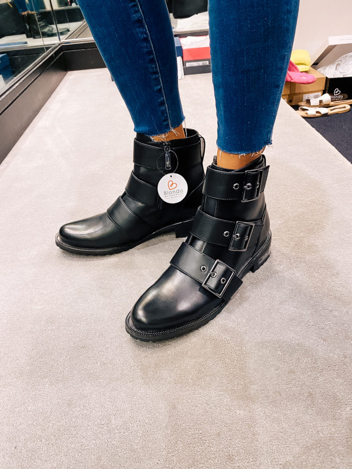 Nordstrom Anniversary Sale by popular Utah fashion blog, A Slice of Style: image of Jenica Parcell wearing a pair of Nordstrom Camila Waterproof Bootie BLONDO.