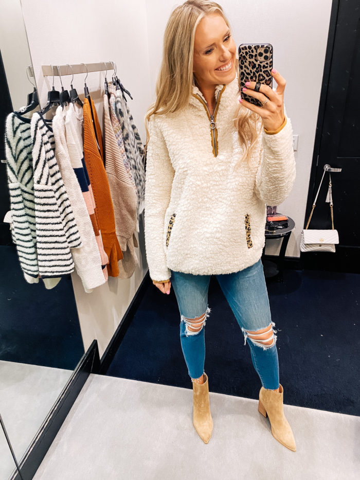 Nordstrom Anniversary Sale by popular Utah fashion blog, A Slice of Style: image of Jenica Parcell wearing a Nordstrom Wubby Fleece Pullover THREAD & SUPPLY.