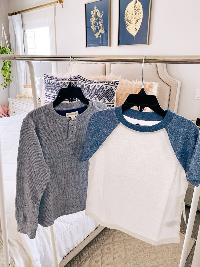 Nordstrom Anniversary Sale by popular Utah fashion blog, A Slice of Style : image of a Nordstrom Long Sleeve Waffle Henley T-Shirt TUCKER + TATE and a Nordstrom Baseball T-Shirt TUCKER + TATE.