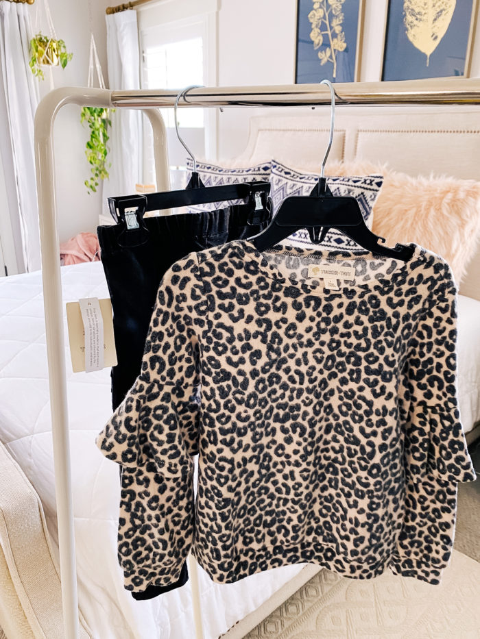 Nordstrom Anniversary Sale by popular Utah fashion blog, A Slice of Style : image of a Nordstrom Leopard Print Ruffle Sleeve Pullover TUCKER + TATE and a Nordstrom Stretch Cotton Moto Leggings TUCKER + TATE.