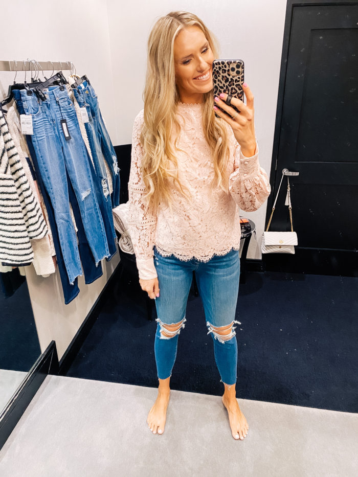 Nordstrom Anniversary Sale by popular Utah fashion blog, A Slice of Style: image of Jenica Parcell wearing a Nordstrom Bishop Sleeve Scalloped Lace Top RACHEL PARCELL.