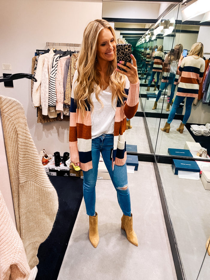 Nordstrom Anniversary Sale by popular Utah fashion blog, A Slice of Style: image of Jenica Parcell wearing a Norstrom Open Front Cardigan CASLON®.