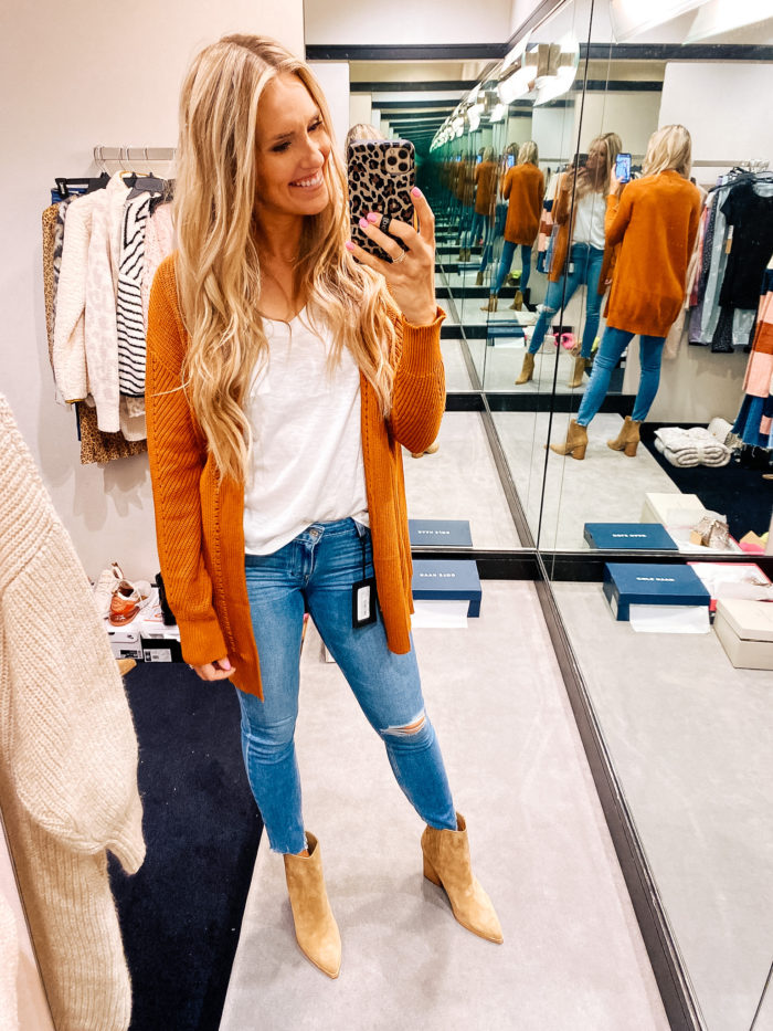 Nordstrom Anniversary Sale by popular Utah fashion blog, A Slice of Style: image of Jenica Parcell wearing a Open Stitch Cardigan BP.