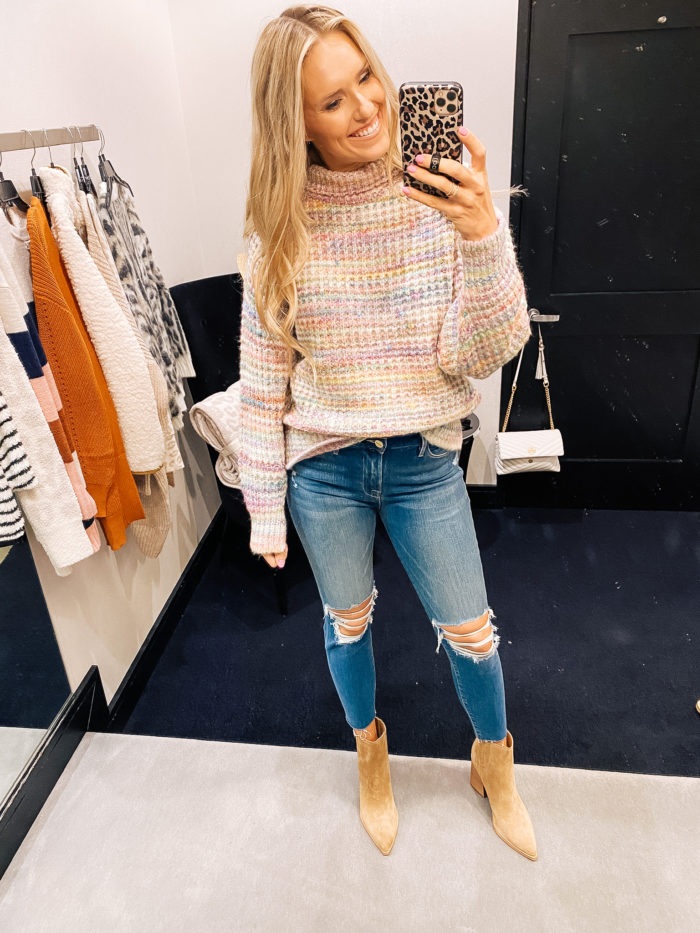 Nordstrom Anniversary Sale by popular Utah fashion blog, A Slice of Style: image of Jenica Parcell wearing a Nordstrom Space Dye Turtleneck Sweater TOPSHOP.