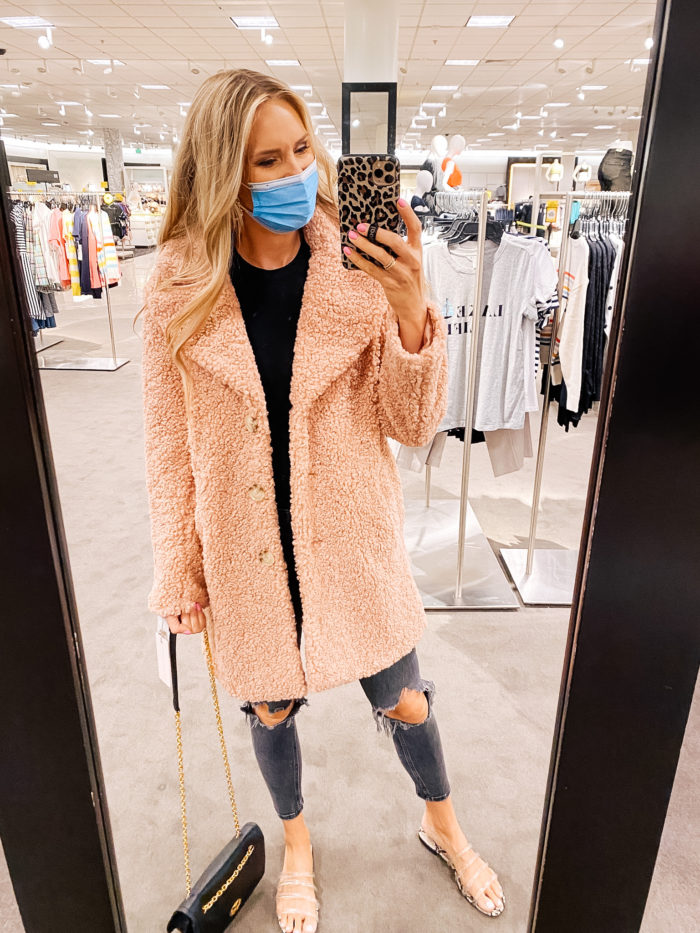 best coats and jackets from Nordstrom Anniversary Sale 2020 | Nordstrom Anniversary Sale by popular Utah fashion blog, A Slice of Style: image of Jenica Parcell wearing a Teddy Faux Shearling Coat RACHEL PARCELL.