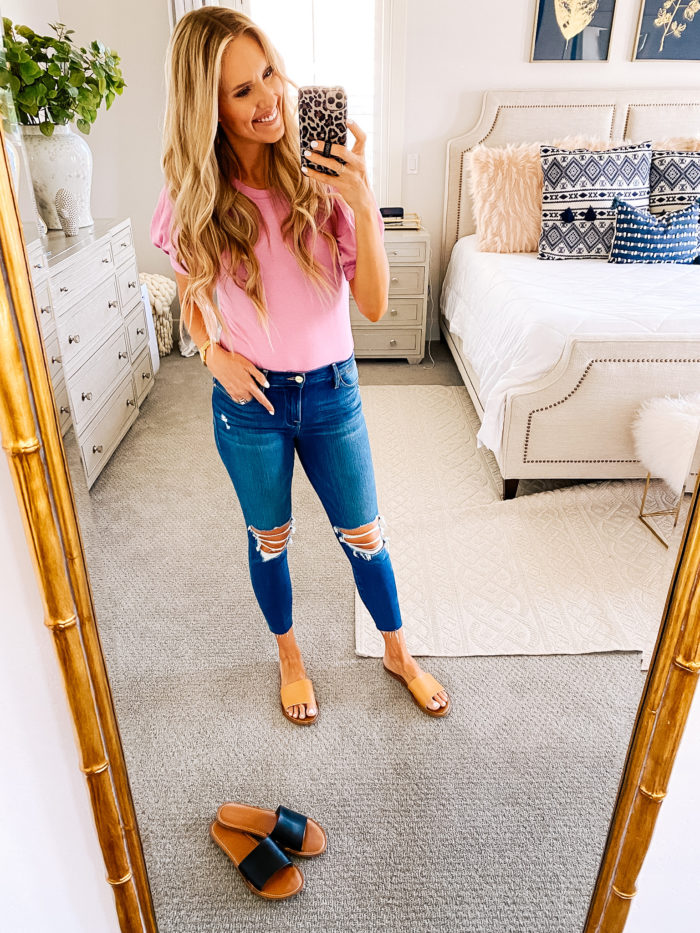 Women's Fashion Tops by popular Utah fashion blog, A Slice of Style: image of Jenica Parcell wearing a pair of Amazon Essentials Women's Single Band Flat Sandals.