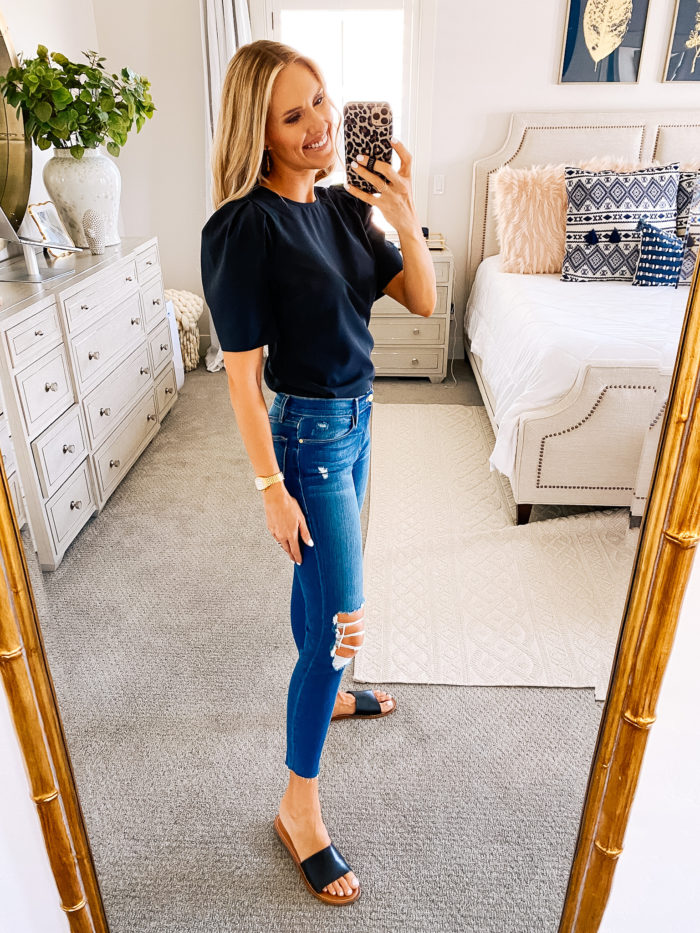 Women's Fashion Tops by popular Utah fashion blog, A Slice of Style: image of Jenica Parcell wearing a Amazon Brand - Lark & Ro Women's Stretch Woven Half Sleeve Crew Neck Shirt