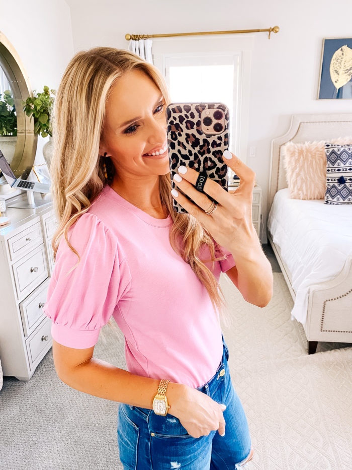 Women's Fashion Tops by popular Utah fashion blog, A Slice of Style: image of Jenica Parcell wearing a Amazon Brand - Daily Ritual Women's Supersoft Terry Puff-Sleeve Top