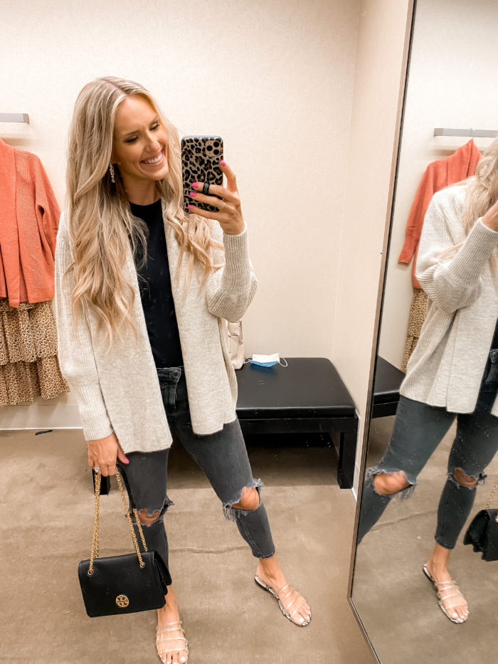 Nordstrom Anniversary Sale by popular Utah fashion blog, A Slice of Style: image of Jenica Parcell wearing a Rachel Parcell cardigan.