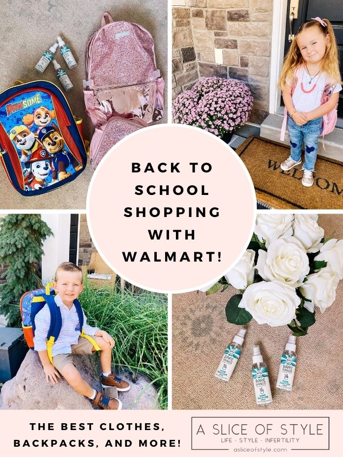 Back to School Shopping with Walmart | Back to School Checklist by popular Utah motherhood blog, A Slice of Style: Pinterest image of a boy and a girl wearing Walmart kid's clothing, kids back packs, and travel size hand sanitizer.