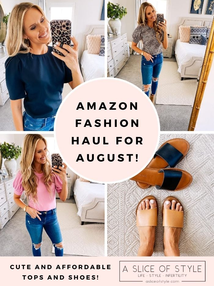 Women's Fashion Tops by popular Utah fashion blog, A Slice of Style: collage image of Jenica Parcell wearing wearing various Amazon fashion tops and slide sandals.