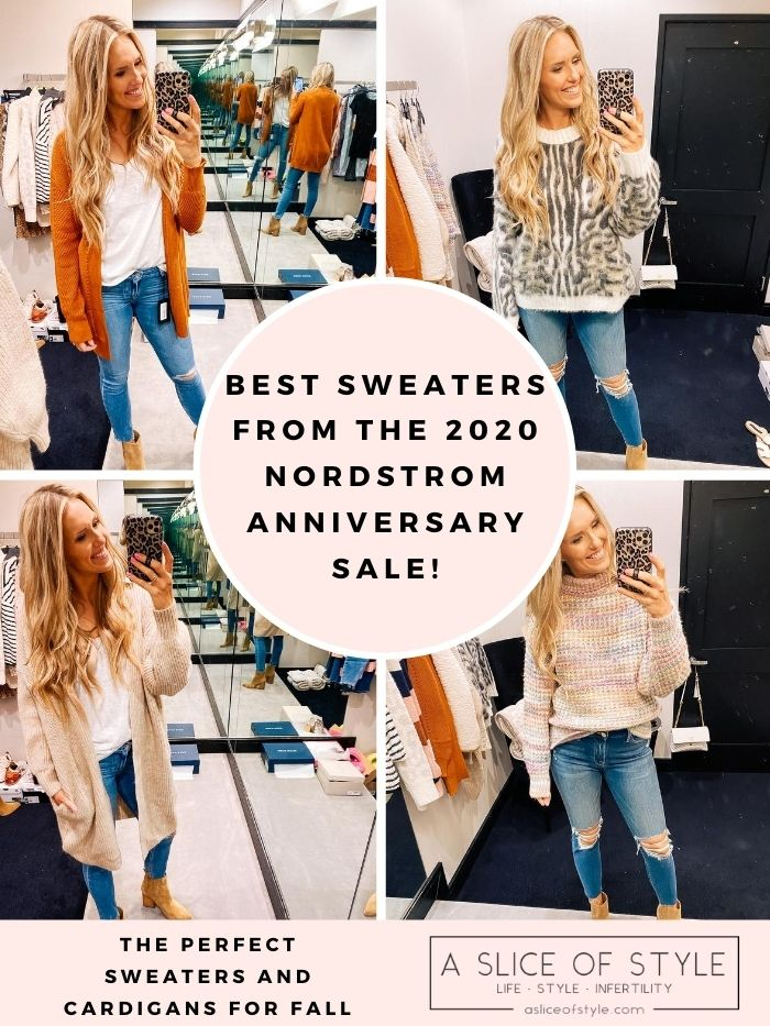 Nordstrom Anniversary Sale by popular Utah fashion blog, A Slice of Style: collage image of Jenica Parcell wearing various Nordstrom sweaters.